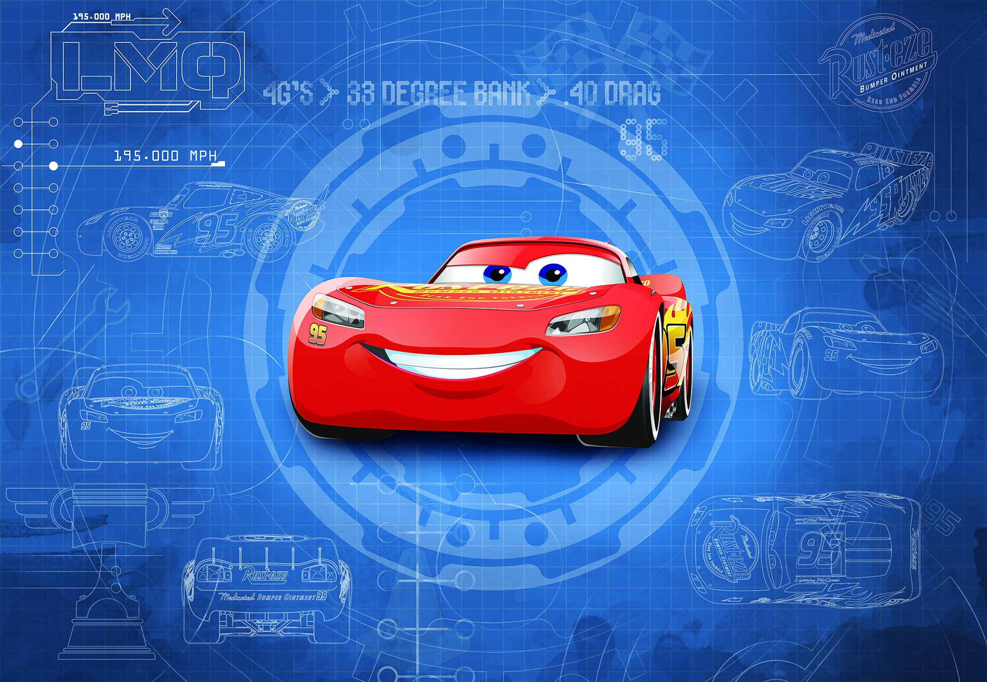 Photomural cars3 blueprint 8 488 from komar disney cars3 blueprint malvernweather Images