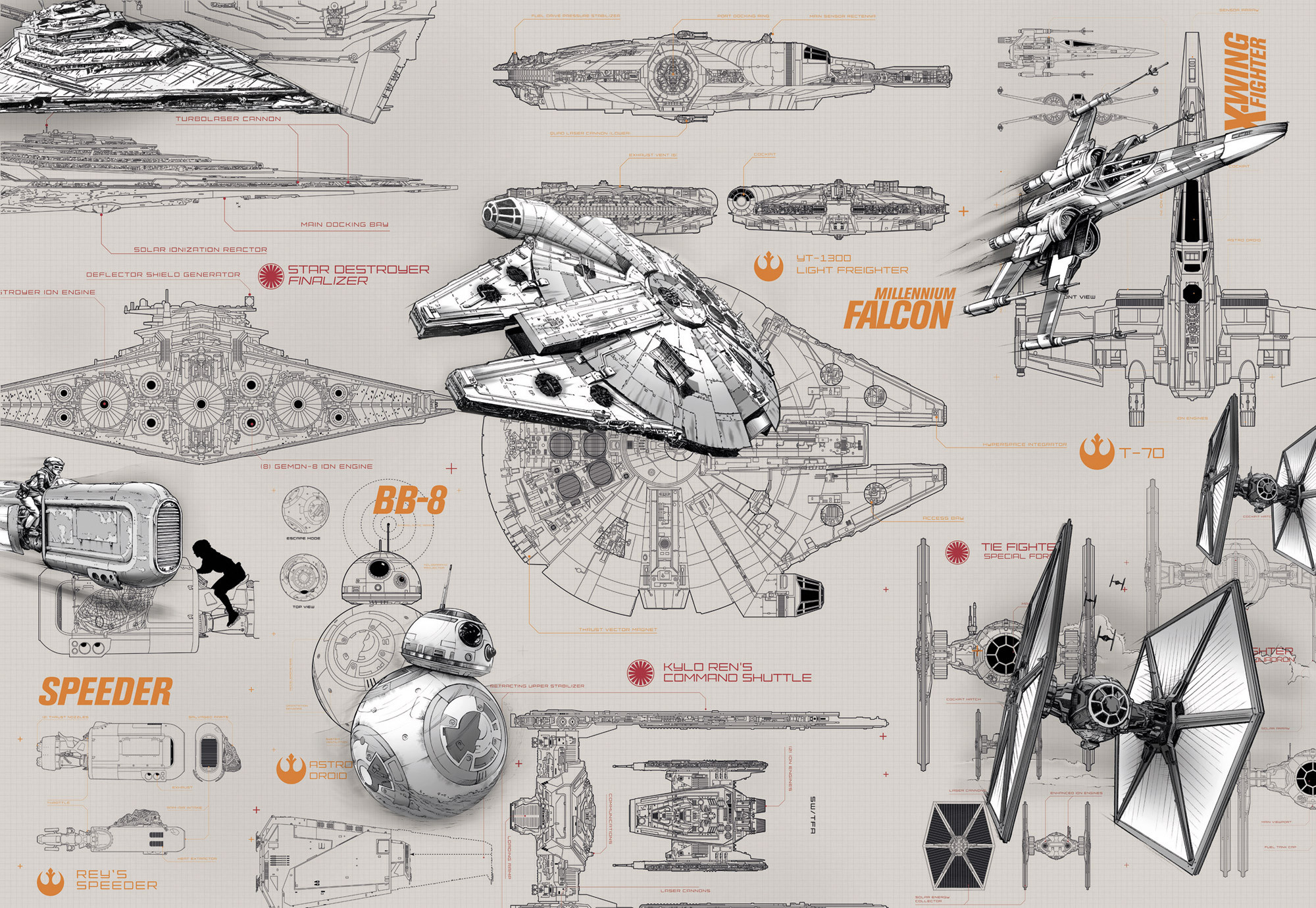 wall mural  u0026quot star wars blueprints u0026quot  from komar