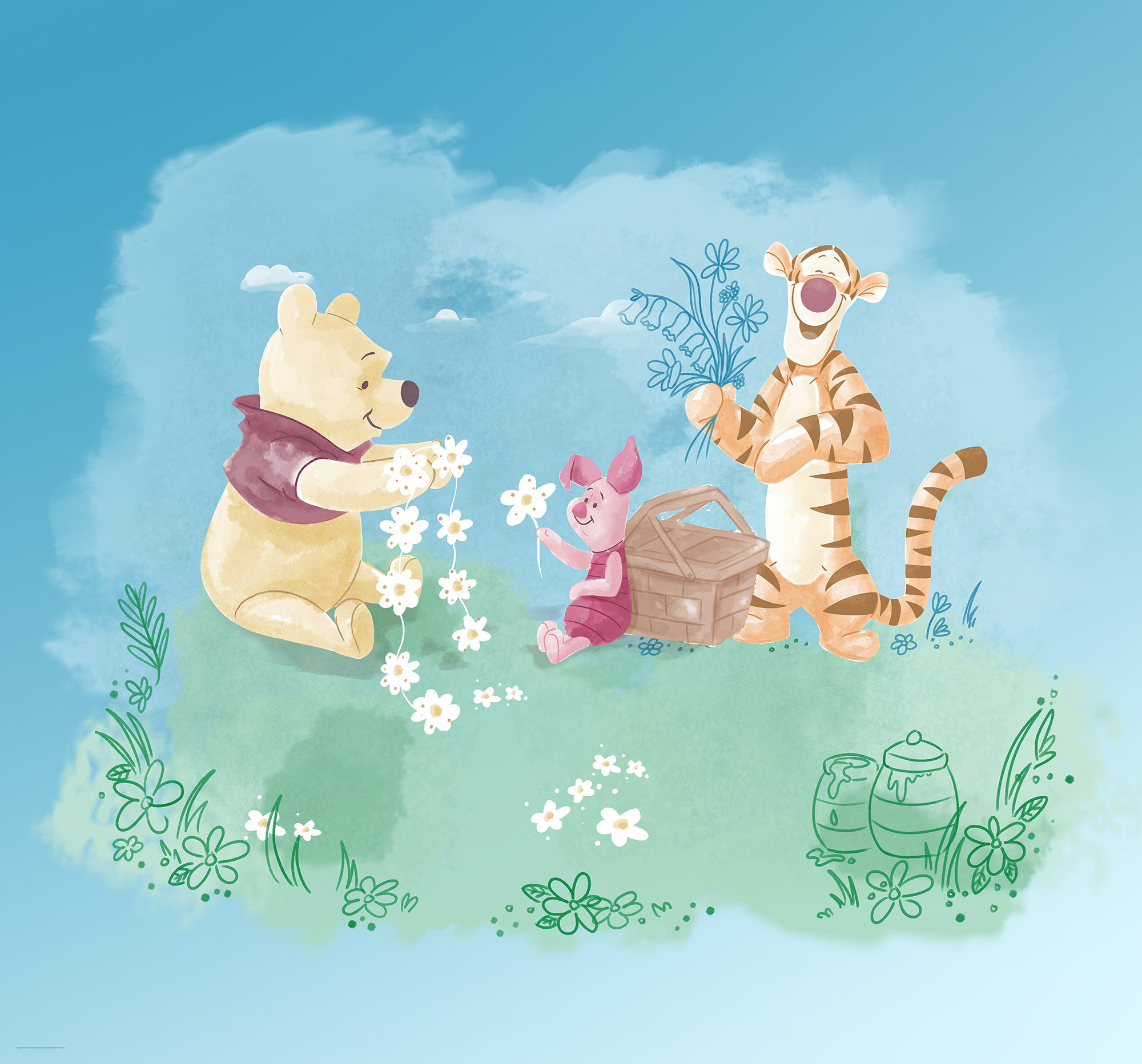 Non Woven Photomural Winnie Pooh Picnic Dx6 033 From Komar Disney