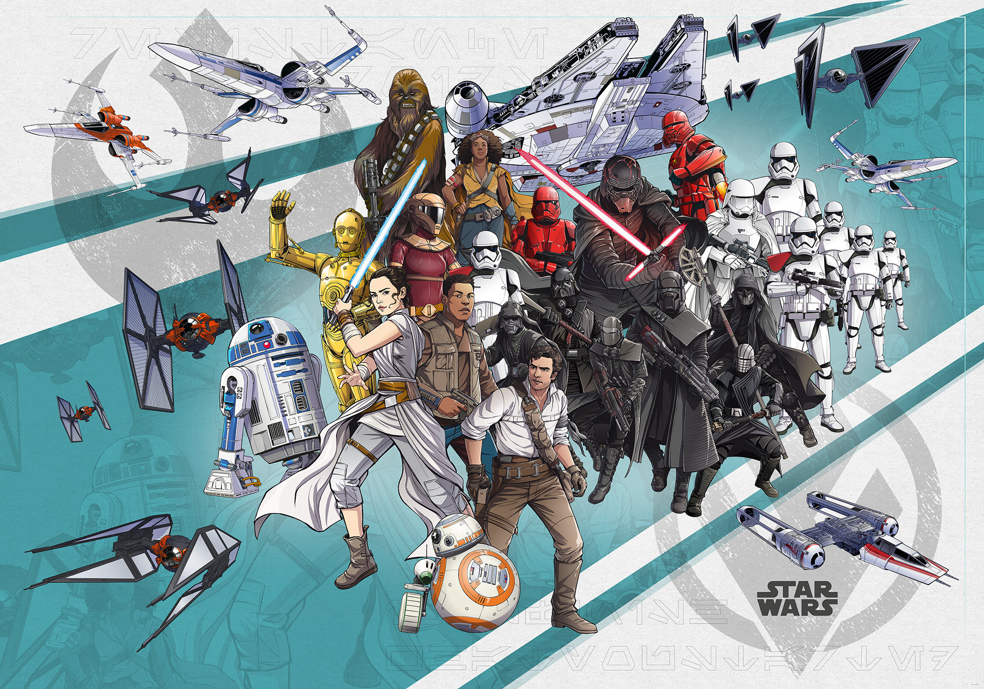 Non Woven Photomural Star Wars Cartoon Collage Wide Dx8 073
