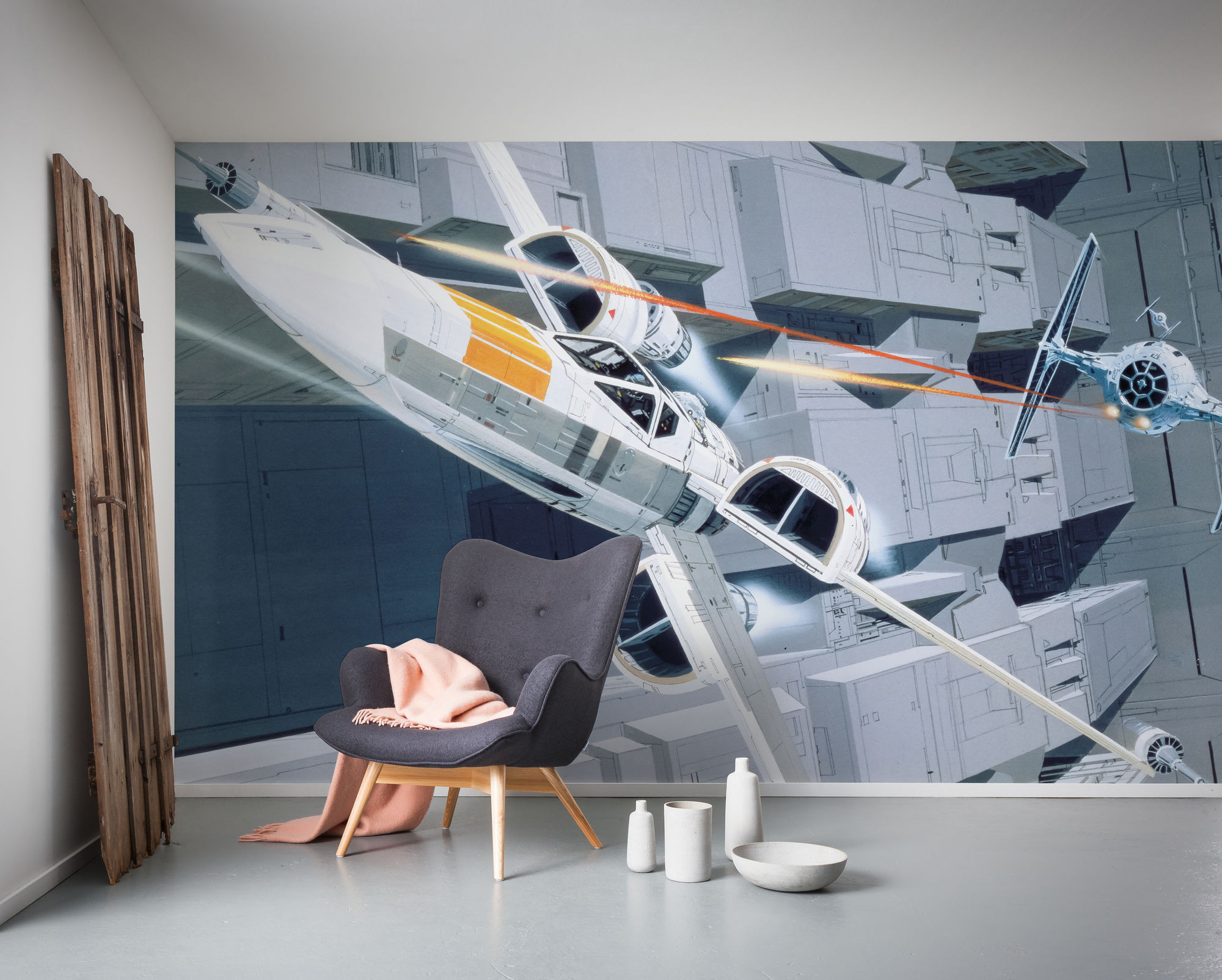 Non Woven Photomural Star Wars Classic Rmq X Wing Vs Tie Fighter Dx10 067 From Komar Disney