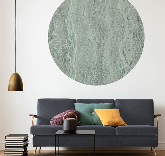 Luxurious marble, rustic copper or industrial concrete – these one-piece photomurals provide that certain something.