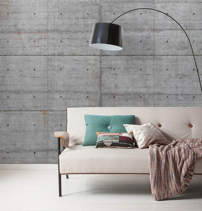 Photomurals in concrete look: Modern, industrial style for at home