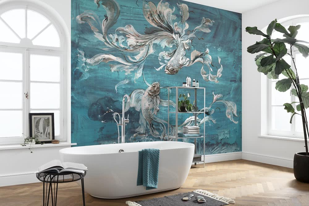 Photomurals in turquoise – a tropical dream landscape for your home