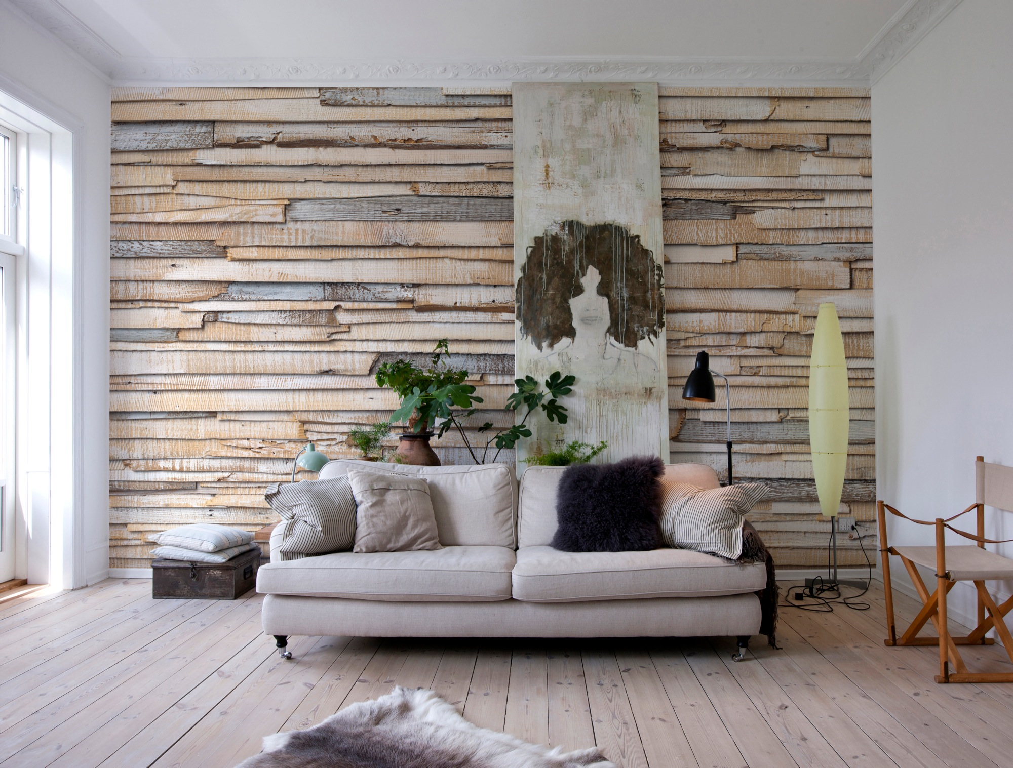 Cool & cozy murals with wood and stone motifs