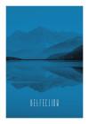 Word Lake Reflection Blue