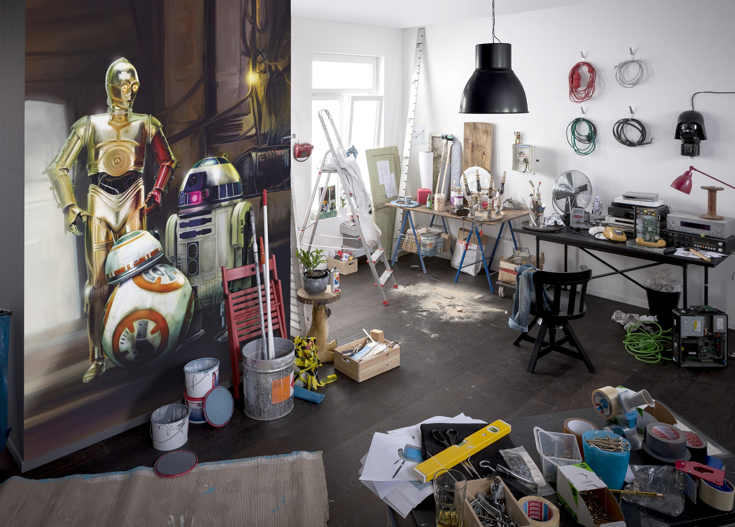 fototapete star wars three droids von komar disney star wars. Black Bedroom Furniture Sets. Home Design Ideas
