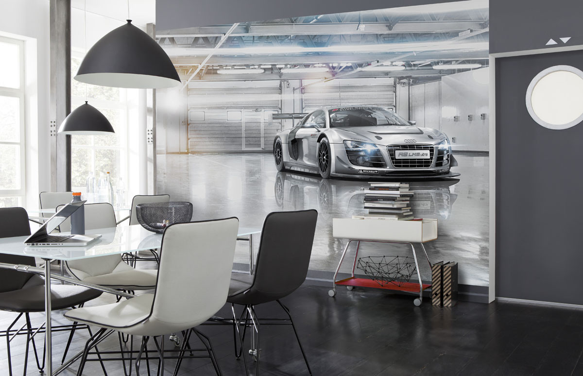 fototapete audi r8 le mans von komar. Black Bedroom Furniture Sets. Home Design Ideas