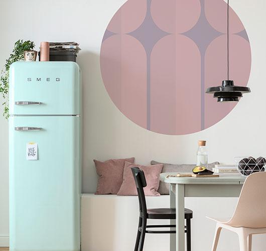 Selbstklebende, kreisrunde Fototapeten mit klaren Formen und modernen Elementen