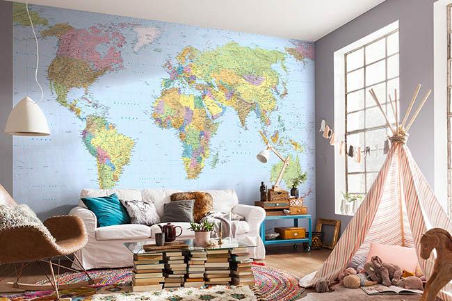 Für alle Weltenbummler – Tapeten mit Weltkarten für den Wohnraum