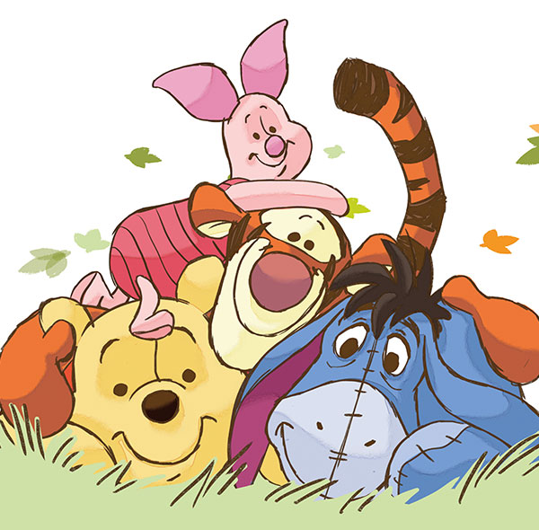 Komar Fototapete Disney Winnie Puuh Gruppenbild Pu der Bär Ferkel Tigger I Aah