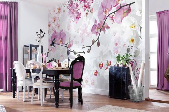 Abstrakt oder realistisch: Tapeten mit Blumen, Bouquets und Ornamenten