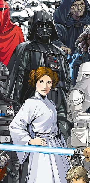 Komar Fototapete Star Wars Cartoon Darth Vader Leia