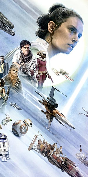 Komar Fototapete Star Wars Gruppenbild Raumschiffe Rey